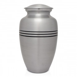 Gray Stripe Cremation Urn