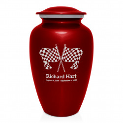 Race Checkered Flag Cremation Urn - Ruby Red