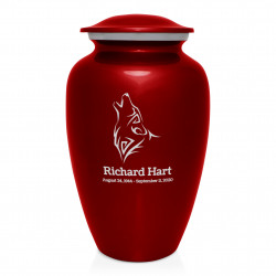 Wolf Cremation Urn - Ruby Red