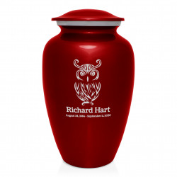 Owl Cremation Urn - Ruby Red