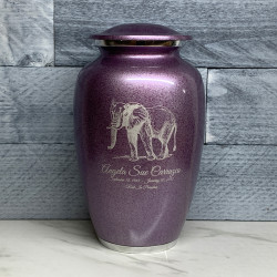 Customer Gallery - Elephant Cremation Urn - Purple Luster