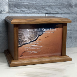 Customer Gallery - Footprints in the Sand II Cremation Urn - Prestige Walnut