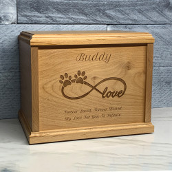 Customer Gallery - Infinity Paw Print Pet Cremation Urn - Signature Alder