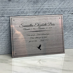 """Customer Gallery - DIY Cremation Urn Plate - Brushed Silver - 5.75"""" w x 4.25"""" h"""