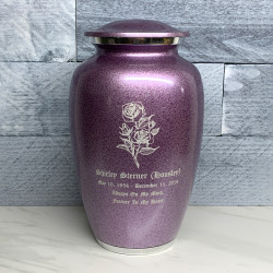 Customer Gallery - Rose Cremation Urn - Purple Luster