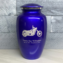 Customer Gallery - Motorcycle Cremation Urn - Midnight Blue