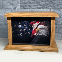 Customer Gallery - American Flag Bald Eagle Cremation Urn - Prestige Oak