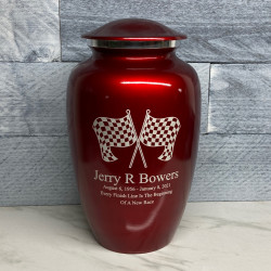 Customer Gallery - Race Checkered Flag Cremation Urn - Ruby Red