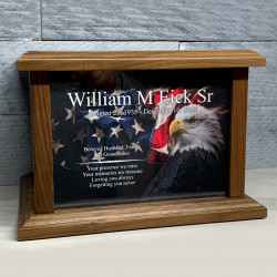 Customer Gallery - American Flag Bald Eagle Cremation Urn - Prestige Walnut