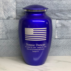 Customer Gallery - American Flag Cremation Urn - Midnight Blue