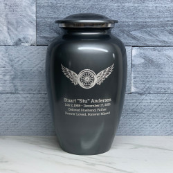 Customer Gallery - Winged Wheel Cremation Urn - Gunmetal Gray