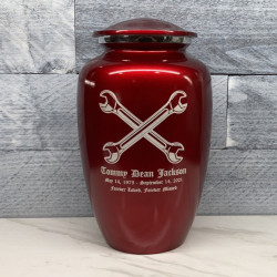 Customer Gallery - Mechanic Wrench Cremation Urn - Ruby Red