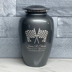 Customer Gallery - Race Checkered Flag Cremation Urn - Gunmetal Gray