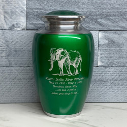 Customer Gallery - Elephant Cremation Urn - Shamrock Green