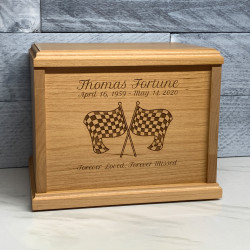 Customer Gallery - Checkered Flag Cremation Urn - Signature Alder