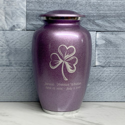 Customer Gallery - Shamrock Cremation Urn - Purple Luster